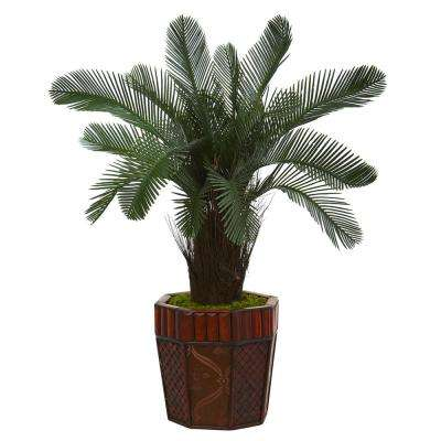 3 ft. High Indoor Cycas Artificial Tree in Bamboo Planter