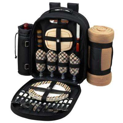 Deluxe Equipped 4-Person Picnic Backpack with Blanket in Black and London