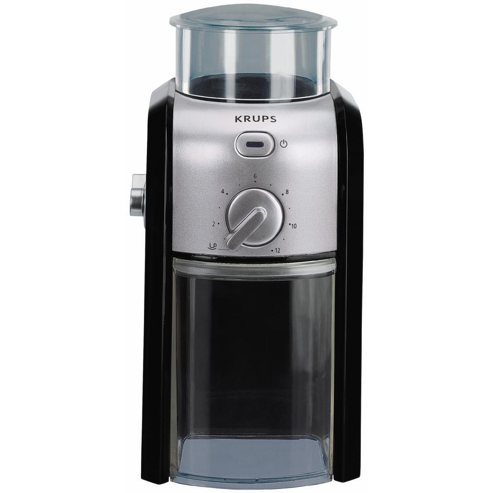 8 oz. Black Stainless Steel Burr Coffee Grinder with Adjustable Settings