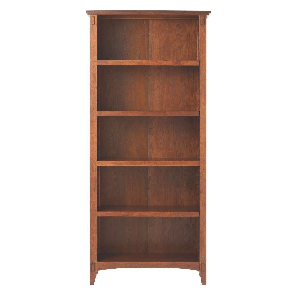 69 in. Medium Oak Wood 5-shelf Standard Bookcase with Adjustable Shelves