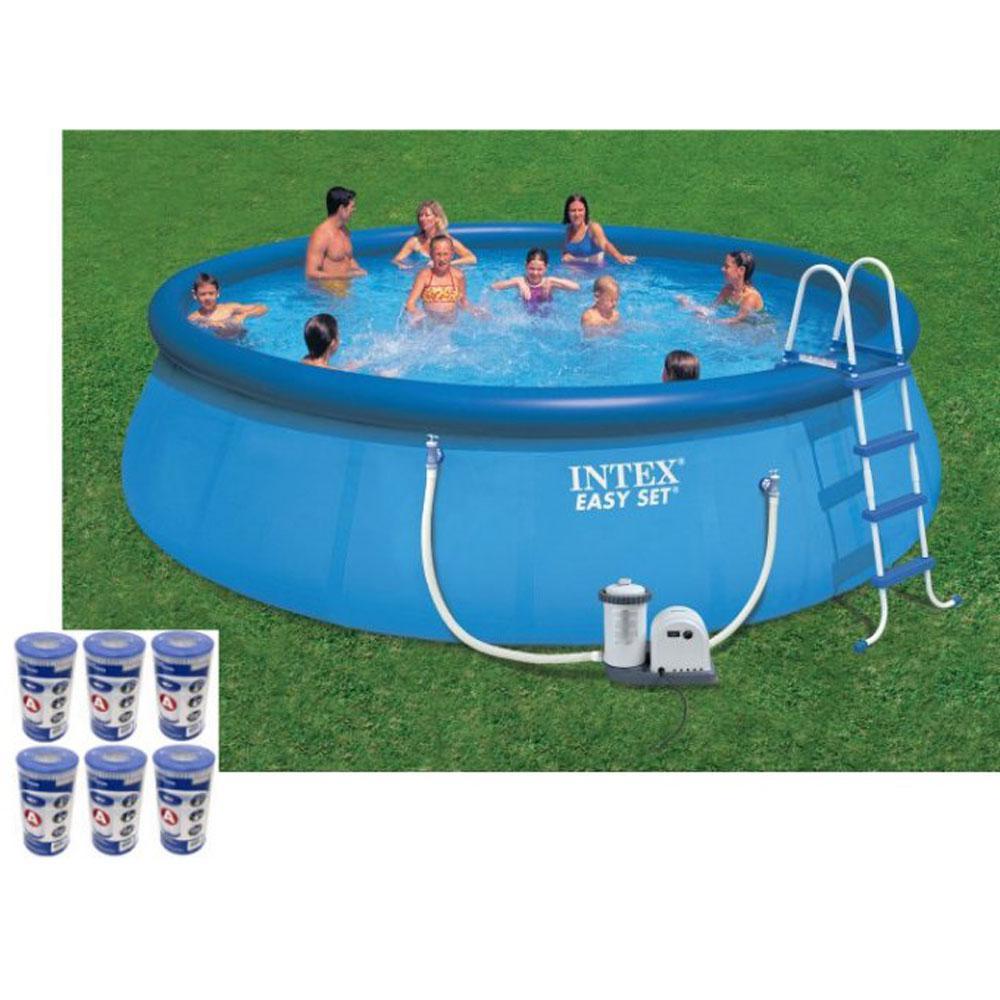 Intex Intex 18 ft. x 48 in. Easy Set Swimming Pool Kit with 1500 GPH GFCI  Filter Pump