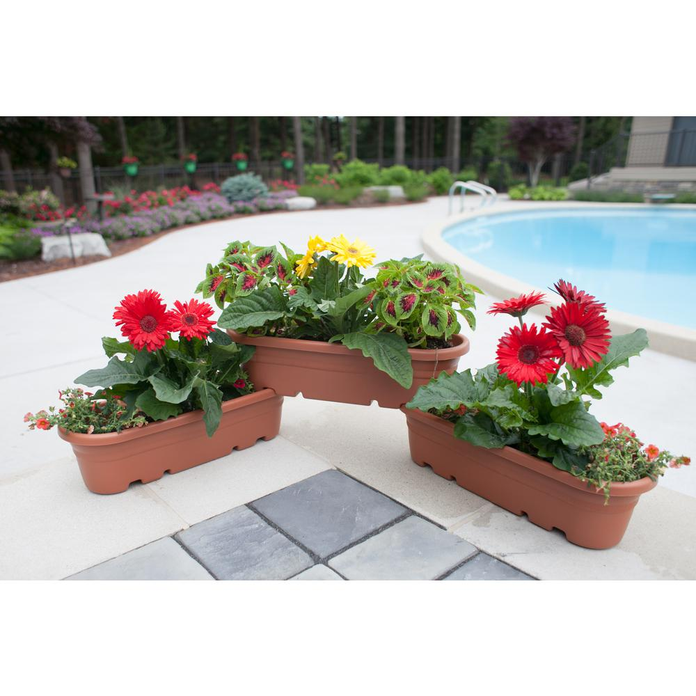 21 in. Terra Cotta Plastic Milano Modular Planter (3-Pack)