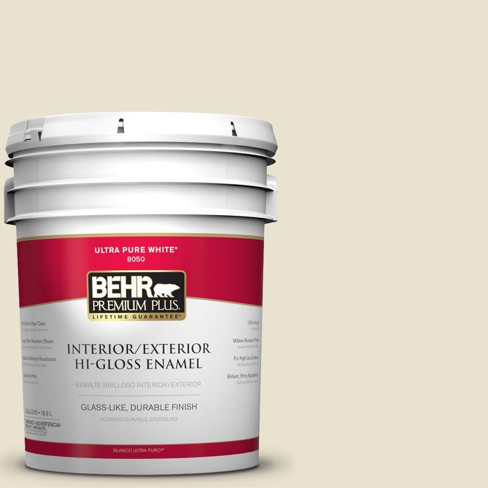 BEHR Premium Plus 5-gal. #S330-1 Baby Artichoke Hi-Gloss Enamel Interior/Exterior Paint
