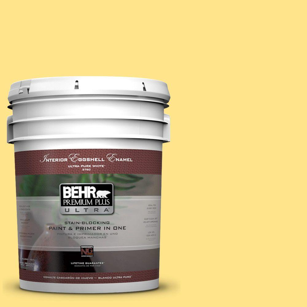 5 gal. #370A-3 Bicycle Yellow Eggshell Enamel Interior Paint and Primer