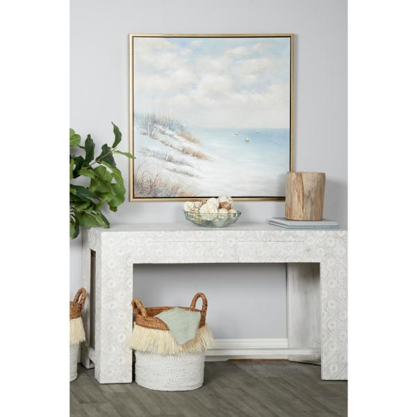 Litton Lane Painting of Beach and Sailboats Framed Canvas Wall Art