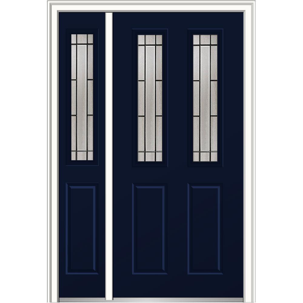 50 in. x 80 in. Solstice Left-Hand 2-1/2-Lite 2-Panel Classic Painted Fiberglass Smooth Prehung Front Door with Sidelite
