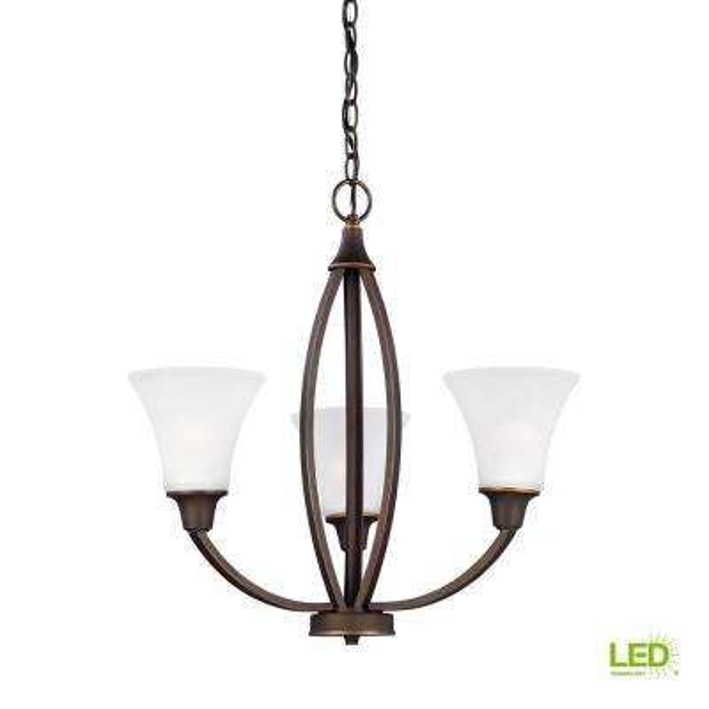 Metcalf 3-Light Autumn Bronze Chandelier with LED Bulbs