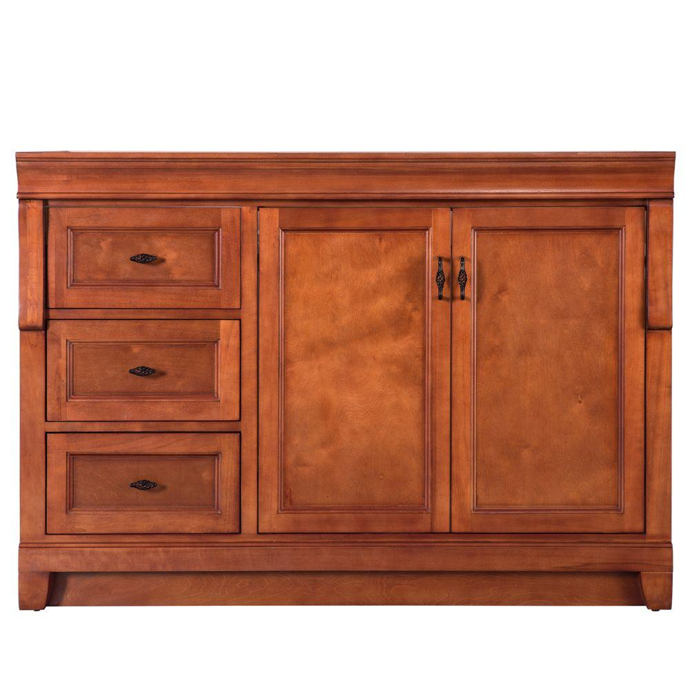 """Foremost"" Naples 48 in. W Bath Vanity Cabinet Only in Warm Cinnamon with Left Hand Drawers"