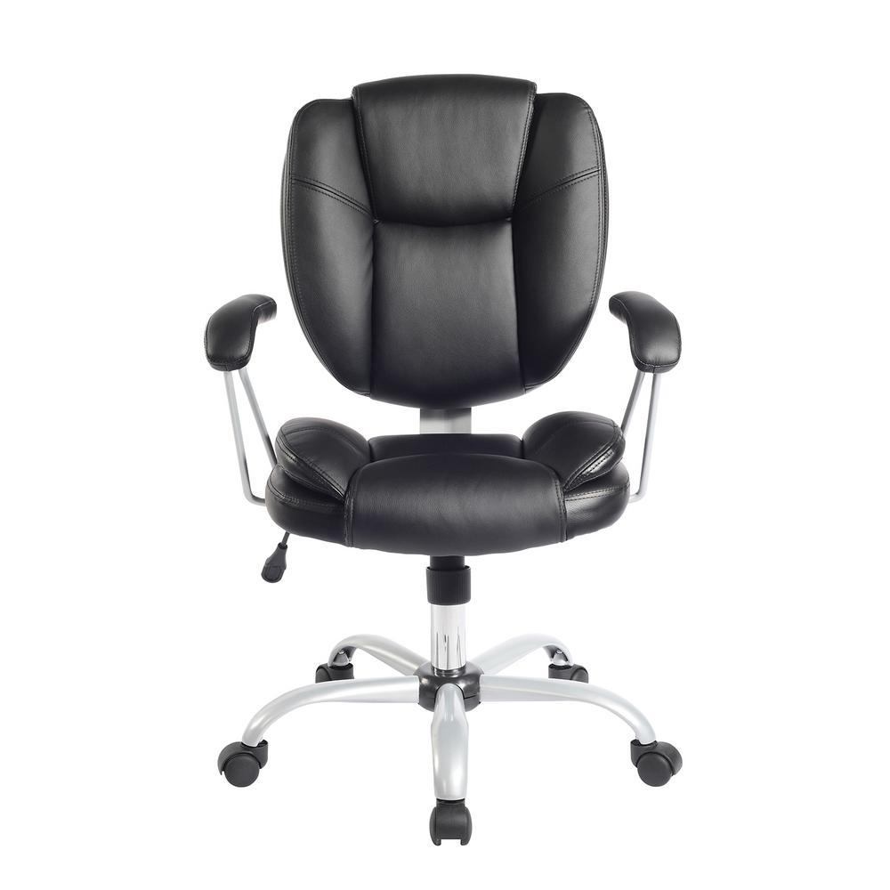 Black Plush Task Office Chair with Techniflex Upholstery