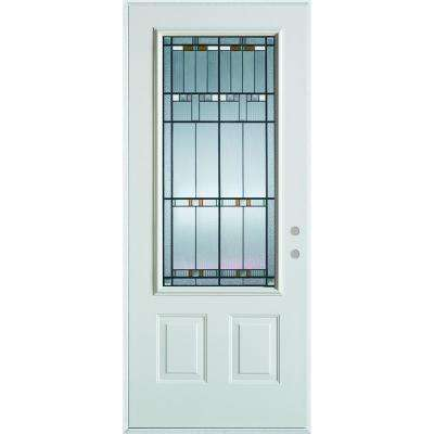 32 in. x 80 in. Architectural 3/4 Lite 2-Panel Painted White Steel Prehung Front Door