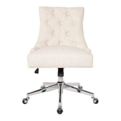 Tufted Office Chair in Linen Fabric with Chrome Base