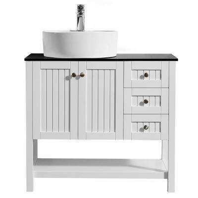 Modena 36 in. Bath Vanity in White with Tempered Glass Vanity Top in Black with White Vessel Sink