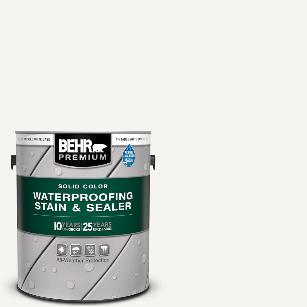 BEHR Premium 1 gal  White Base Solid Color Waterproofing Exterior Wood  Stain and Sealer