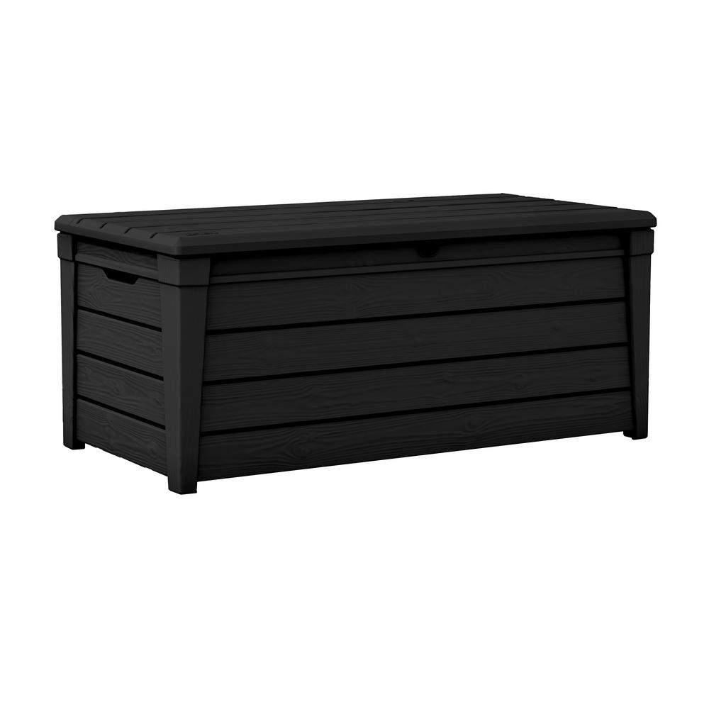 Outdoor Black Deck Patio Box Brightwood Lockable Resin Storage Bench
