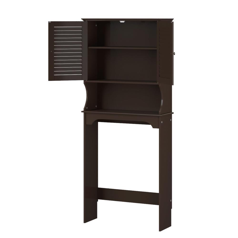 Riverridge Home Ellsworth 27 9 25 In W X 64 4 7 In H X 9 1 4 In D 2 Door Over The Toilet Storage Cabinet In Brown 06 032 The Home Depot