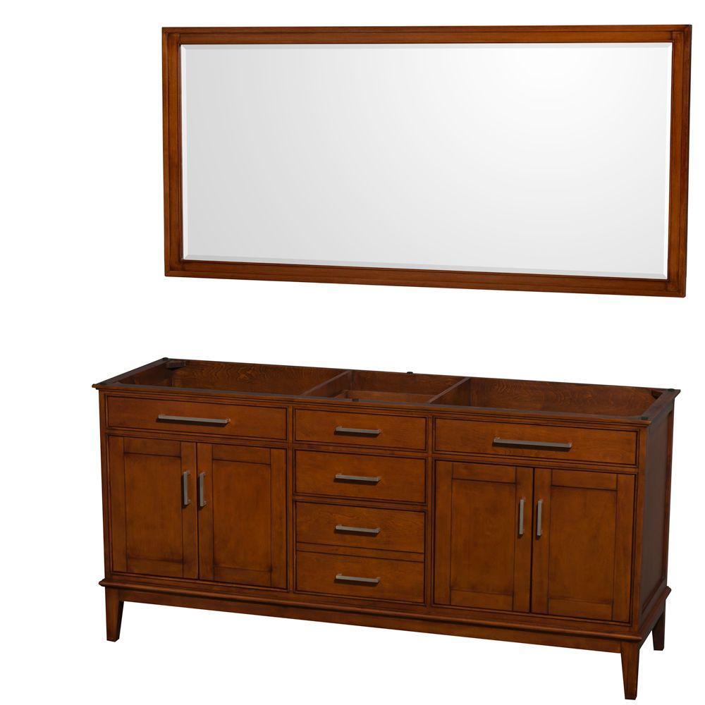 Wyndham Collection Hatton 71 in. Vanity Cabinet with Mirror in Light Chestnut