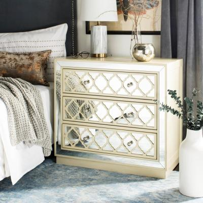 Amelia 3-Drawer Beige/Nickel Chest