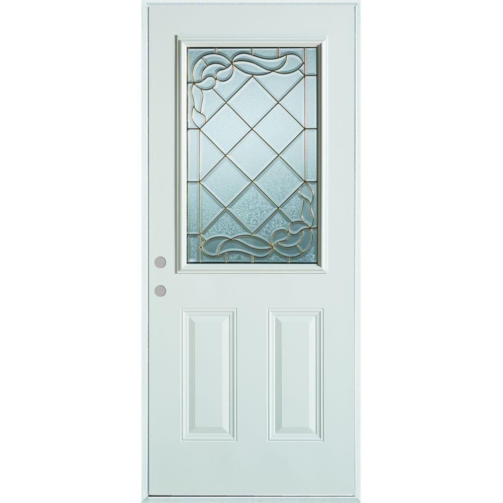 36 in. x 80 in. Art Deco 1/2 Lite 2-Panel Painted White Right-Hand Inswing Steel Prehung Front Door