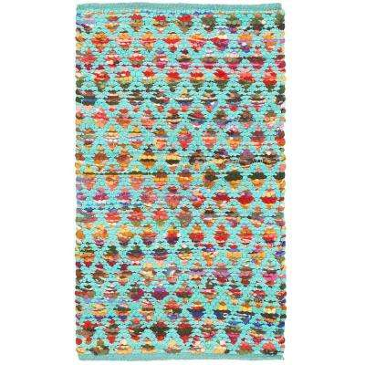 Harlequin Turquoise 2 ft. x 3 ft. Indoor Reversible Woven Scatter Rug