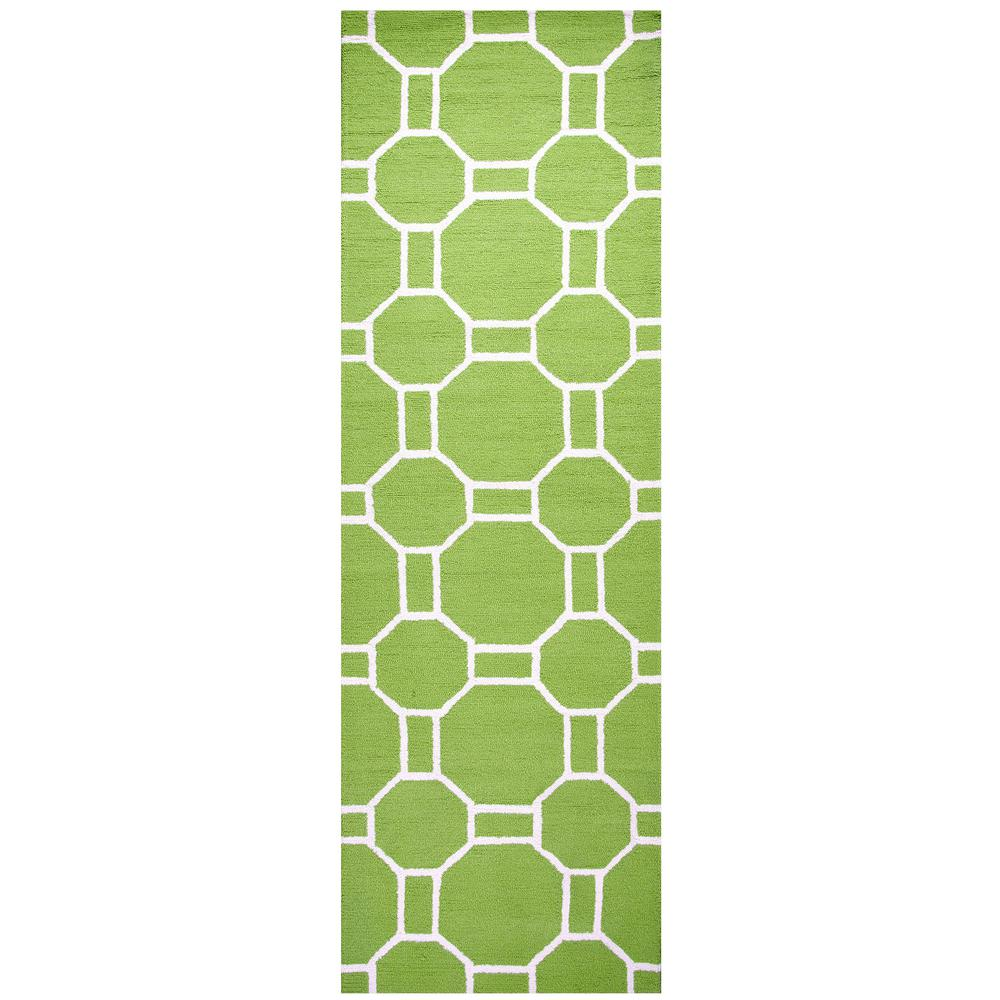 Azzura Hill Lime Green Geometric 3 ft. x 8 ft. Outdoor