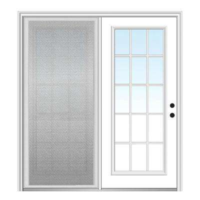72 in. x 80 in. Primed Fiberglass Prehung Left Hand Grilles Between Clear Glass 15-Lite Hinged Patio Door with Screen