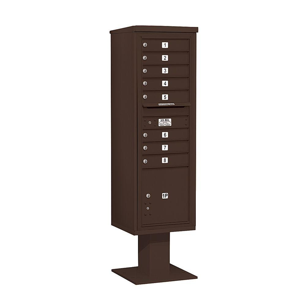 3400 Series Bronze Mount 4C Pedestal Mailbox with 8 MB1 Doors/1