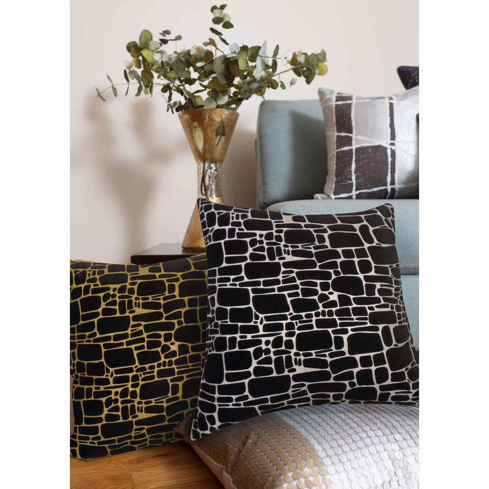 Precious Metals Supernova Black/Gold Polyester Indoor Decorative Pillow