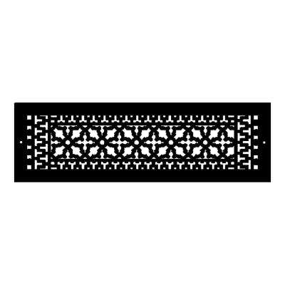 Scroll Series 24 in. x 6 in. Aluminum Grille, Black with Mounting Holes
