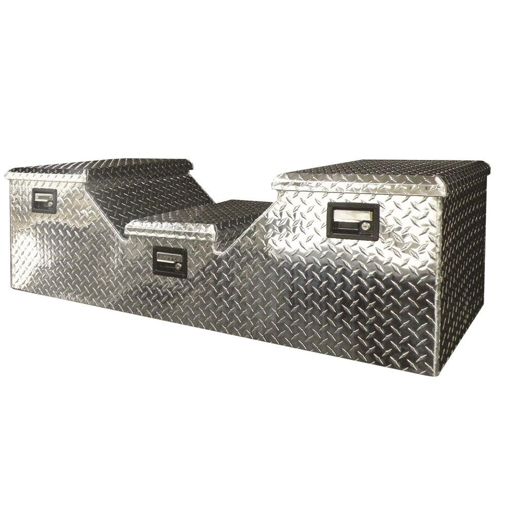 Lund 57 in Diamond Plate Aluminum Full Size Crossbed Truck Tool Box with mounting hardware and keys included, Silver
