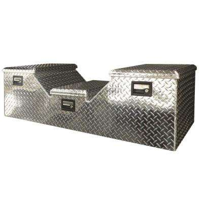 57 in Diamond Plate Aluminum Full Size Crossbed Truck Tool Box with mounting hardware and keys included, Silver