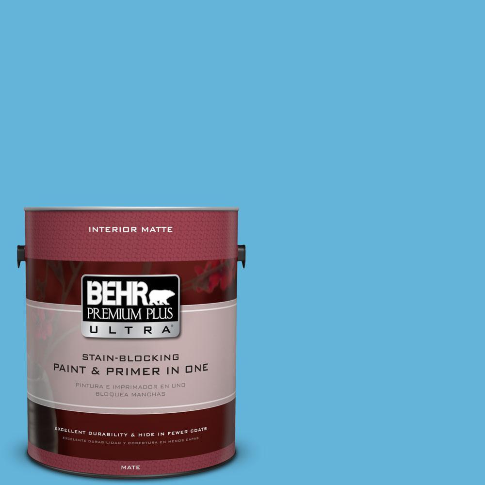 1 gal. #540B-5 Riviera Blue Flat/Matte Interior Paint