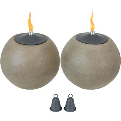7.5 in. Stone-Look Round Ball Outdoor Tabletop Torch (2-Pack)