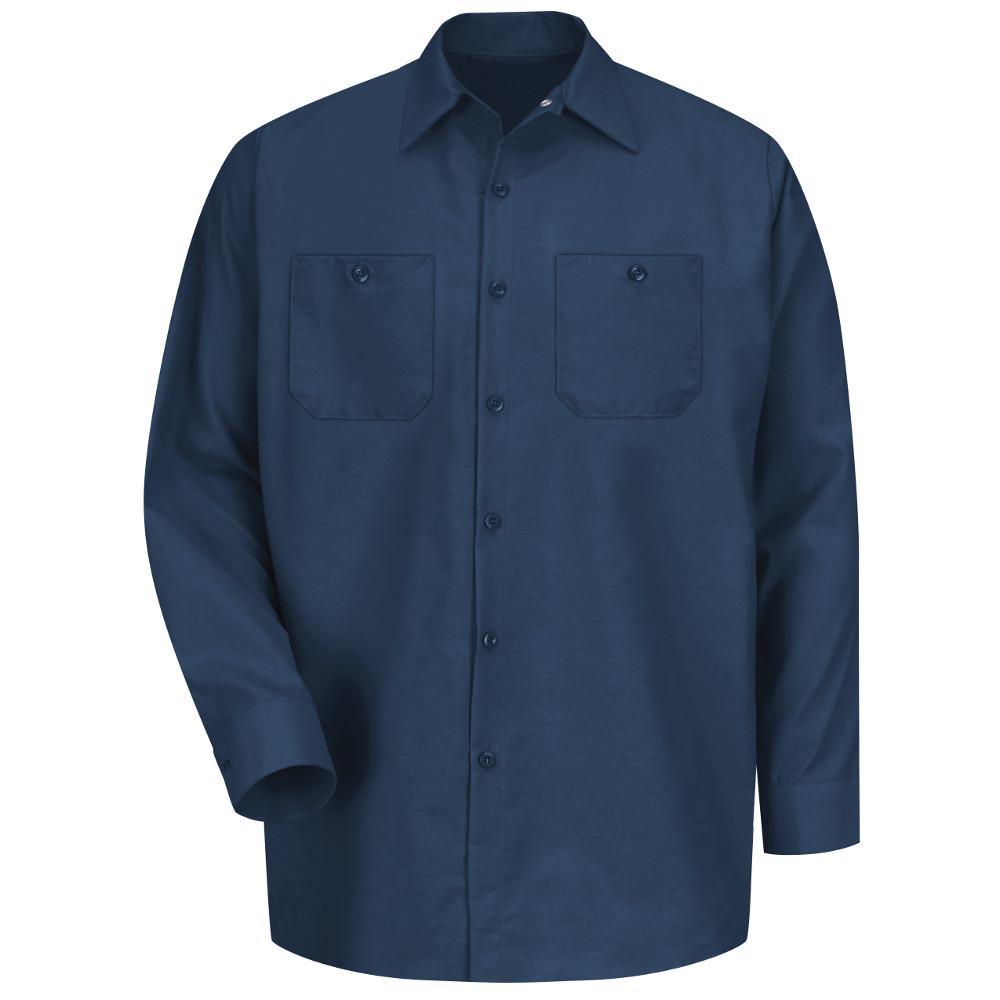 Men's Size M (Tall) Navy Long-Sleeve Work Shirt
