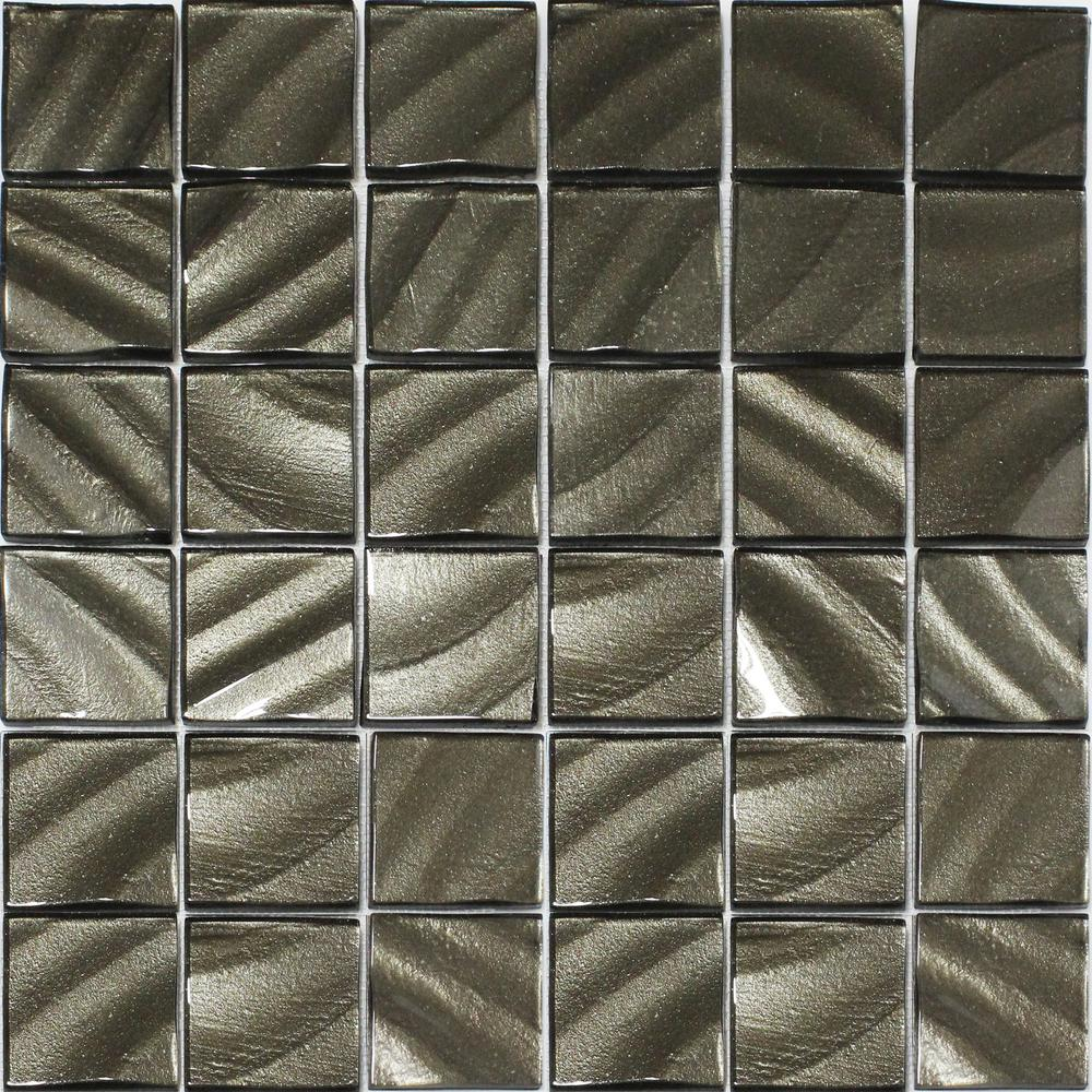 - Valverde 2 X 2 3D Carbon 12 In. X 12 In. X 6mm Glass Mosaic Tile