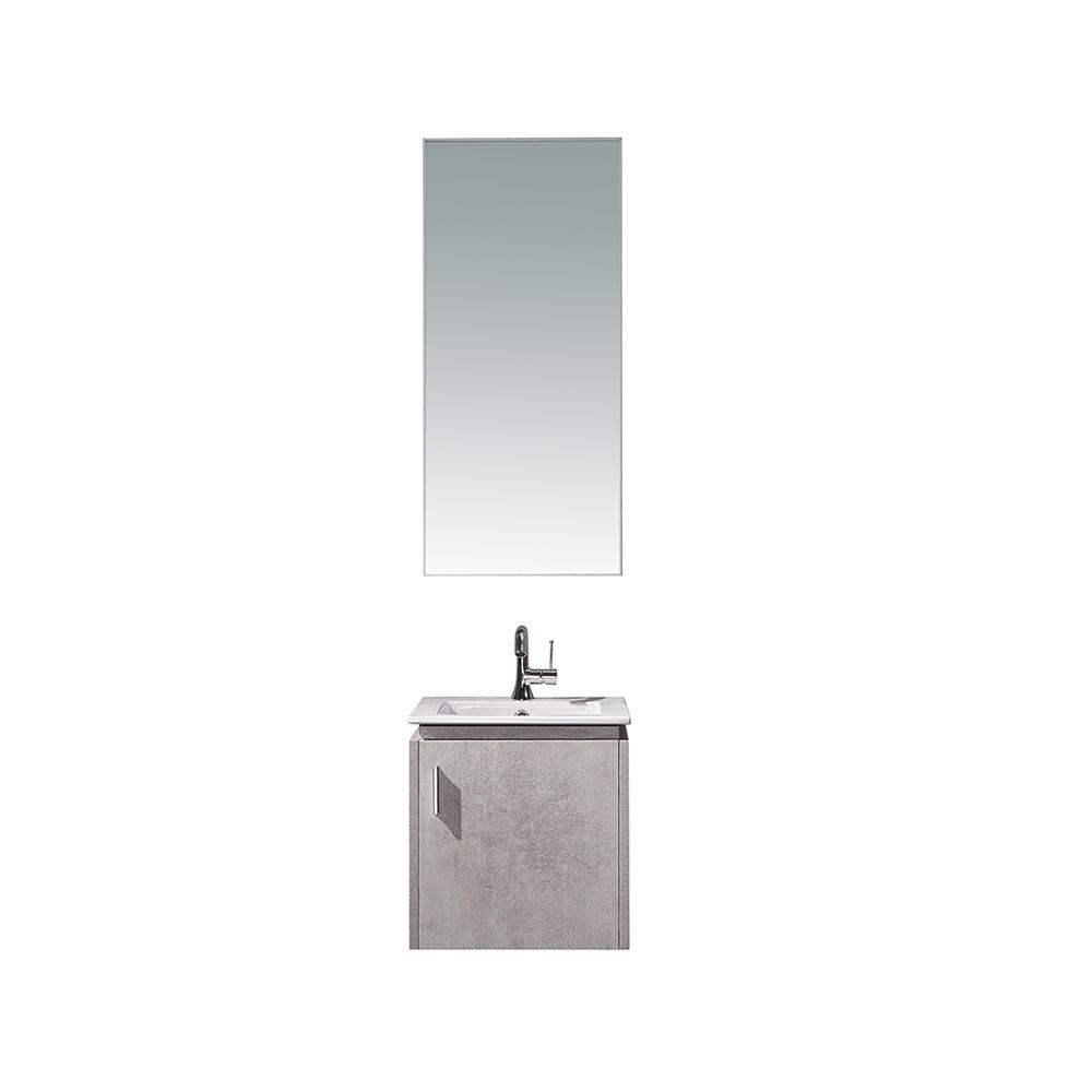 ROSWELL Aosta 16 in. W x 16 in. D Bath Vanity in Light Grey w/ Vanity Top in White w/ White Drop-In Porcelain sink and Mirror