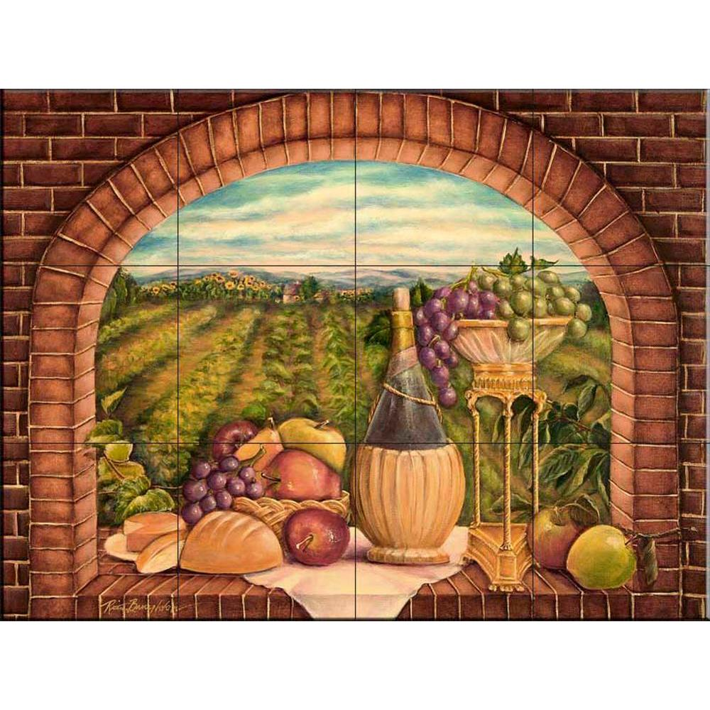 The tile mural store tuscan wine ii 24 in x 18 in for Ceramic mural designs