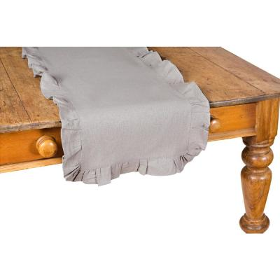 16 in. x 54 in. Ruffle Trim Solid Taupe Table Runner, Gray