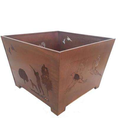 Hunter 24 in. x 16 in. Square Steel Wood Burning Fire Pit in Rust