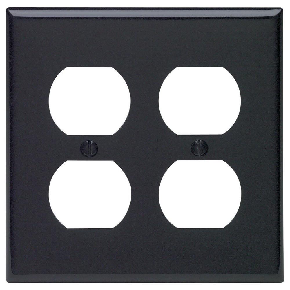 2-Gang Standard Size 2-Duplex Receptacles Nylon Wallplate, Black