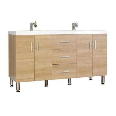 Ripley 56.5 in. W x 19.87 in. D x 33.12 in. H Vanity in Light Oak with Acrylic Vanity Top in White with White Basin