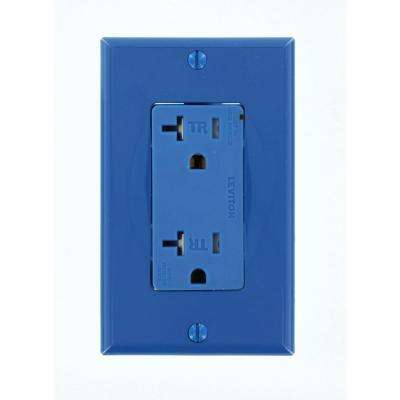 Decora Plus 20 Amp Commercial Grade Tamper Resistant Self Grounding Duplex Surge Outlet, Blue
