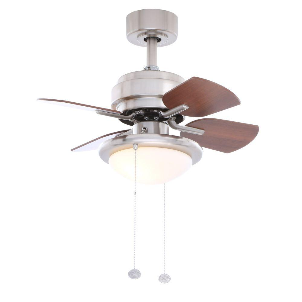 Hampton Bay Metarie 24 in. Indoor Brushed Nickel Ceiling Fan with Light Kit