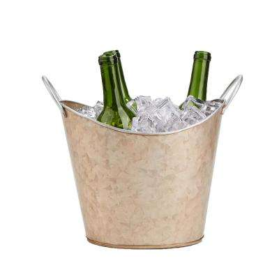 Brown  Cooper Plated Galvanized Beverage and Ice Tub Bucket with Handle
