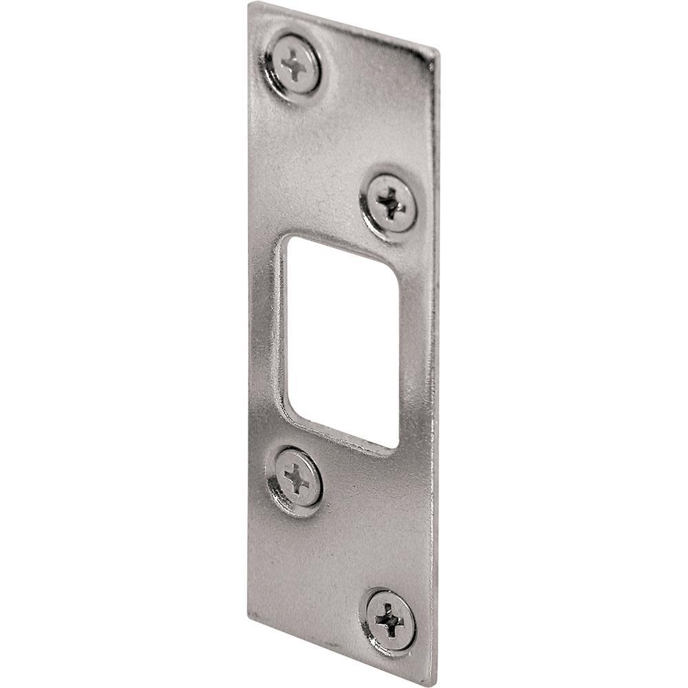 Prime-Line 1-1/4 in. x 3-5/8 in. Nickel Plated Deadbolt Door Lock Strike Plate