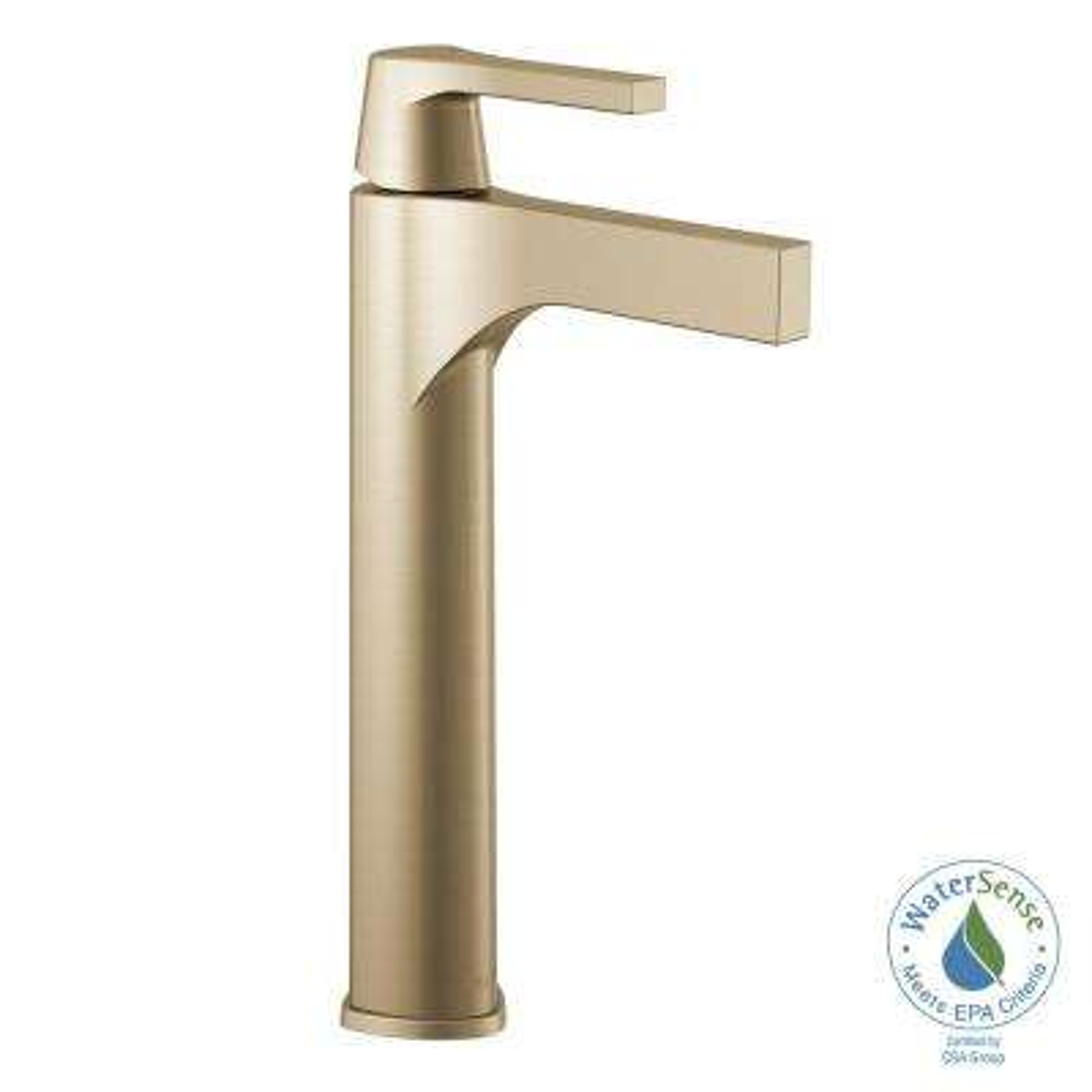 Zura Single Hole Single-Handle Vessel Bathroom Faucet in Champagne Bronze