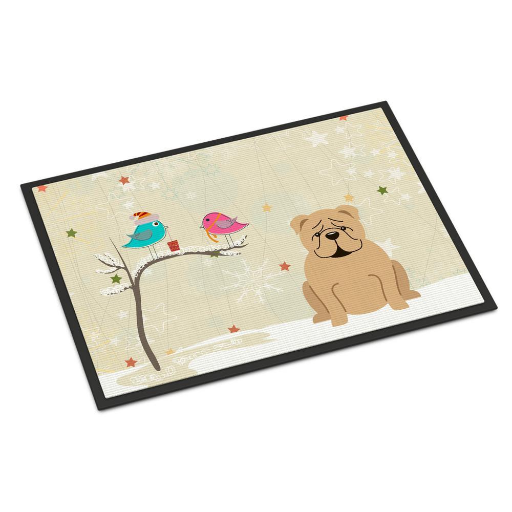 18 in. x 27 in. Indoor/Outdoor Christmas Presents between Friends English Bulldog Fawn Door Mat
