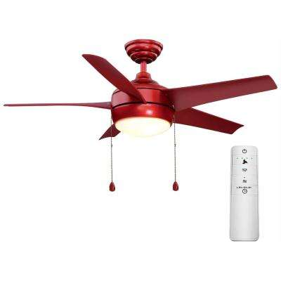 Windward 44 in. LED Red Smart Ceiling Fan with Light Kit and WINK Remote Control