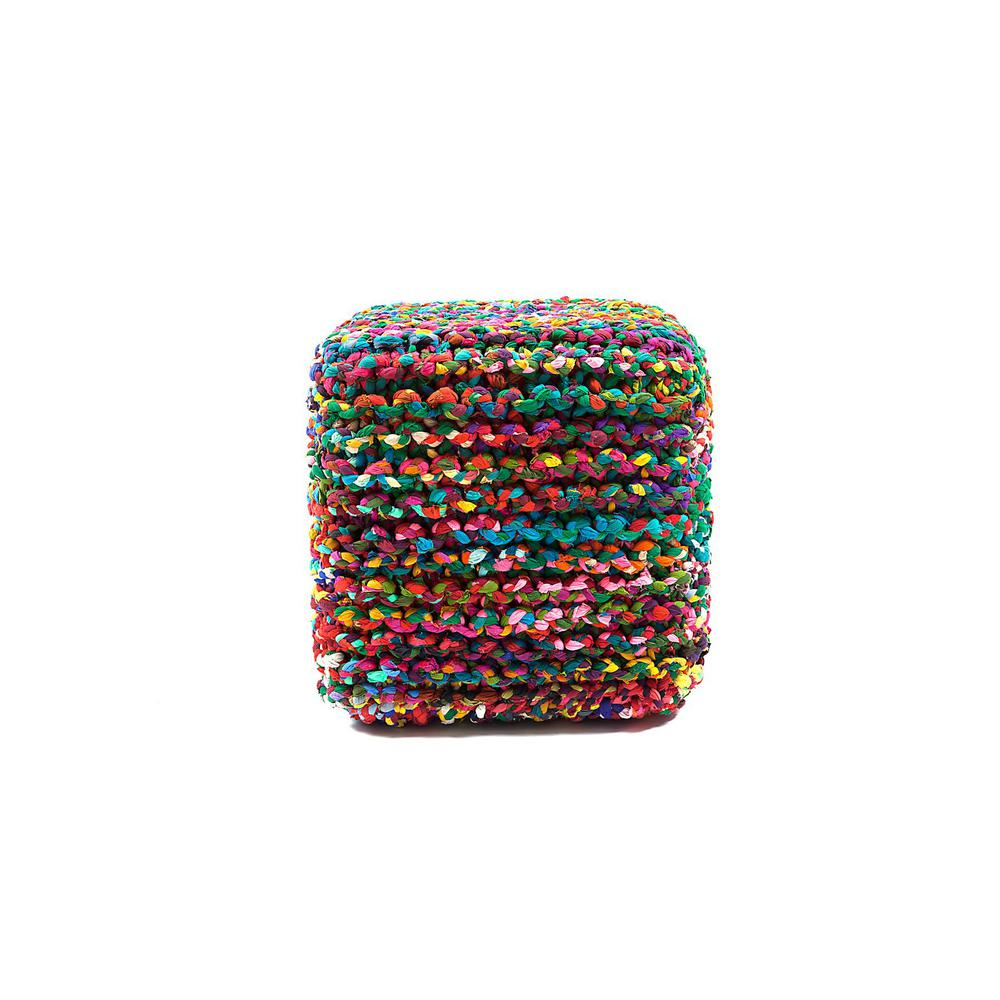 Rainbow Connection Multicolored 18 in. Cube Pouf