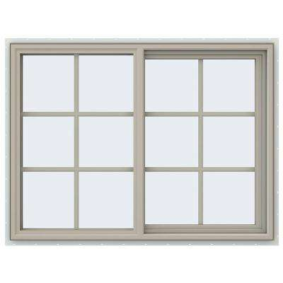 47.5 in. x 35.5 in. V-4500 Series Right-Hand Sliding Vinyl Window with Grids - Tan