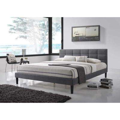 Lexington Gray Fabric Queen-Size Square Tufted Upholstered Platform Contemporary Bed